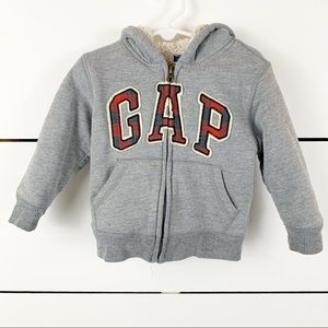 BABYGAP Sherpa Lined Zip-up Logo Hoodie Gray 2T